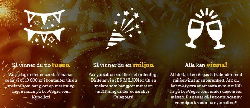 10000kr om dagen fram till nyår hos LeoVegas Casino