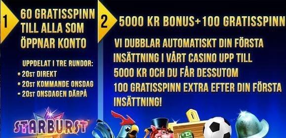 100% upp till 5000 kronor och 160 frisnurr på Sverigekronan!