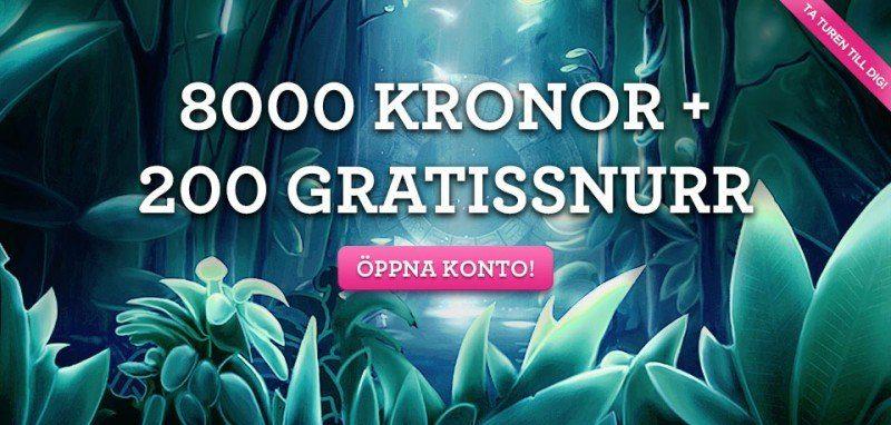 8000kr extra och 200 free spins till svenska spelare