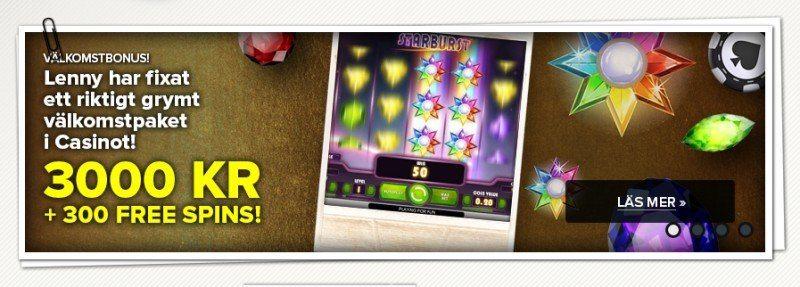 3000 kronor och 300 freespins hos SuperLenny Casino