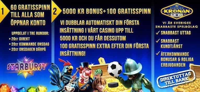 60 freespins utan insättningskrav hos SverigeKronan