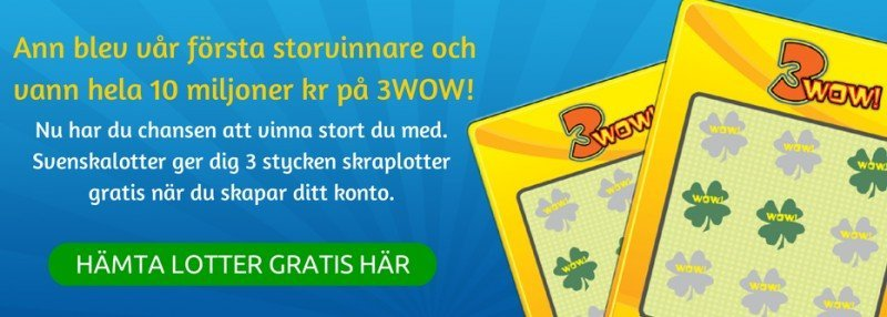 Vinn 10 miljoner gratis direkt på skrapet med Svenskalotter!