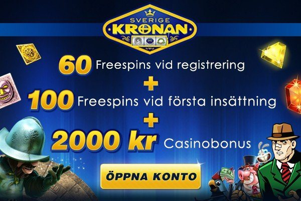 60 free spins hos Sverigekronan Casino