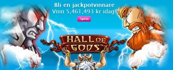 HALL of GODS Jackpot uppe I  5,462,008:- SEK
