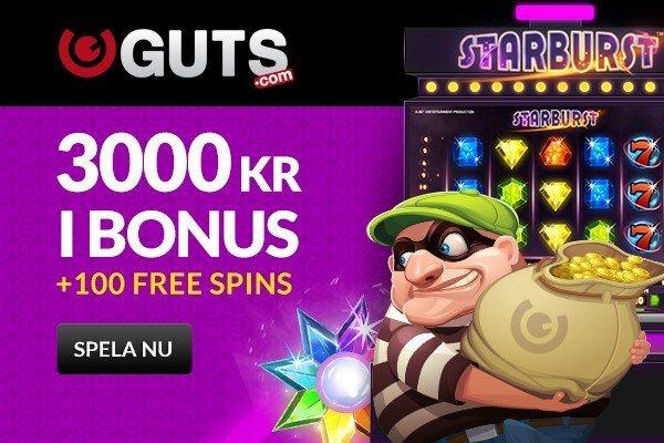 Guts ger dig en grym insättningsbonus + 100 Free spins på Starburst