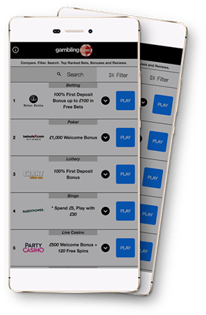 Gambling.com Bonus Comparison App search and filter