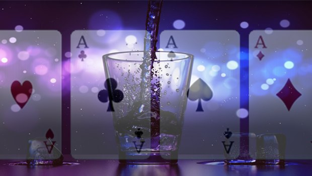 Poker cards and cocktail