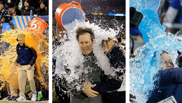 Coaches drenched in Gatorade