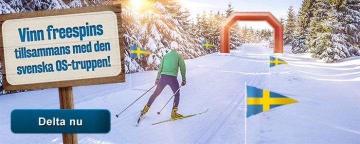 Heja fram Sverige i Vinter-OS 2018 & få freespins i casino bonus!