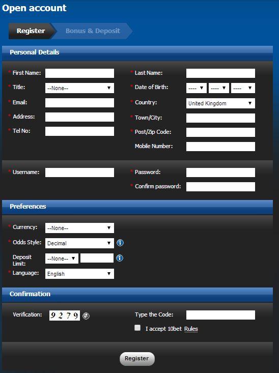 10bet Registration Page