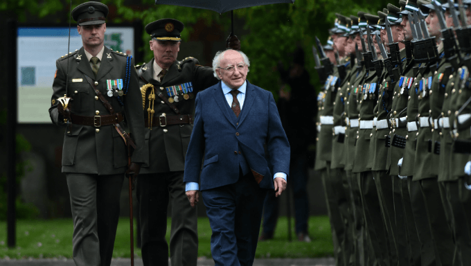 Michael D. Higgins Inspects Armed Guard