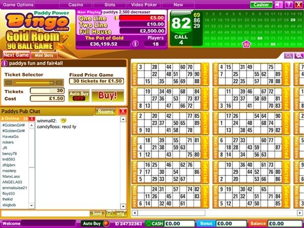 Paddy power bingo login page