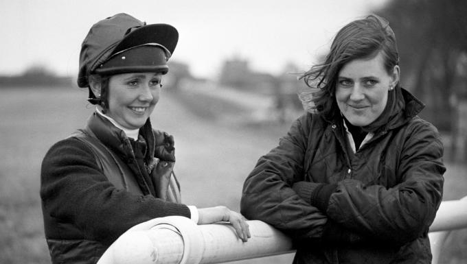 Grand National jockeys Geraldine Rees and Charlotte Brew in 1982