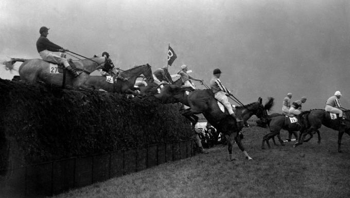 Becher's Brook is cleared during the 1935 Grand National
