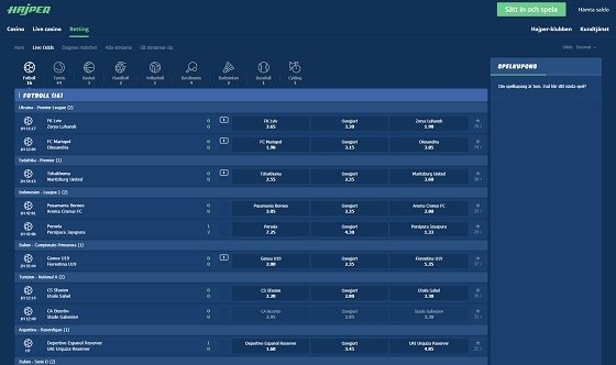 Fotboll live odds