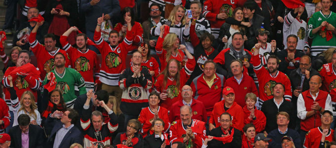 Blackhawks fans like those here in the United Center may soon be able to place bets