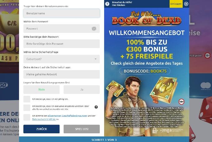 Anmeldemaske im Online Casino