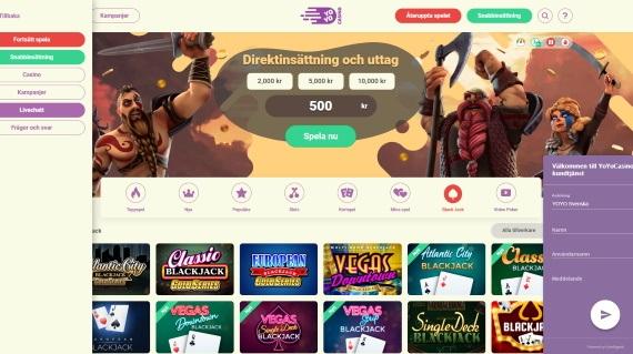 YoYo Casino meny och support