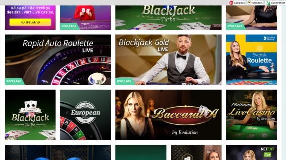 Mobilt live casino